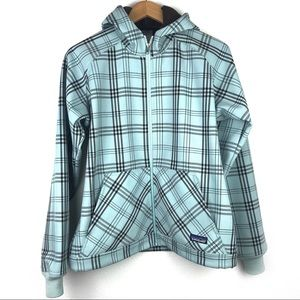 Patagonia soft fleece lined hooded plaid jacket